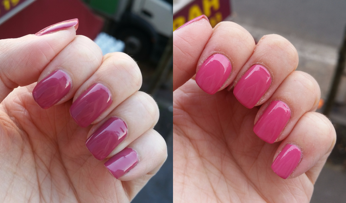 OPI Aurora Berry-Alis vs Kure Bazaar Sunset